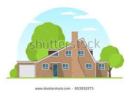 House Flat Design Frontview Usa Arizona Style Suburban Private Stock Vector