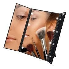 tri fold mirror with lights 2018 makeup mirror 8 led light tri fold illuminated foldable make up