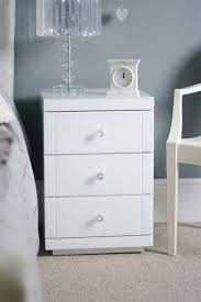 Glass Bedside Table by My Furniture White Glass Bedside Table With 3 Drawers White