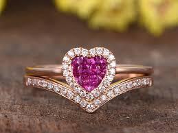 natural ruby rings images Vs natural ruby wedding promise ring set solid 14k rose gold jpg