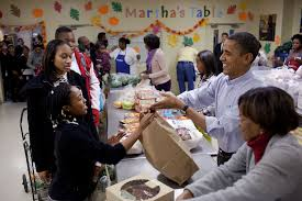 the obama family volunteers at martha s table