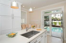 One Wall Kitchen Designs With An Island Kitchen With Kitchen Island U0026 French Doors In Saint Petersburg Fl