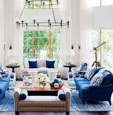 nautical living room decorating ideas with chandelier and blue