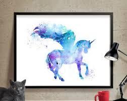 Items Similar To Art Print - items similar to unicorn print unicorn watercolor unicorn art