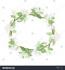 vector apple tree flowers watercolor wreath stock vector 277115948