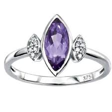 18ct white gold diamond amethyst white gold marquise shape amethyst diamond ring