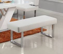 chintaly linden bch wht modern white leather chrome long bench