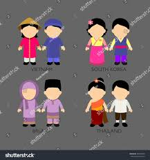 philippines traditional clothing for kids asian cartoon kids different traditional costumes stock vector