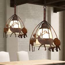Glass Shade Chandelier Western Pendant Lighting Deer Pattern Glass Shade