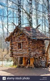 fairy grandmother wooden house fairy grandmother yaga stock photo royalty free