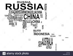 Oceania Map Illustration Of Asia And Oceania Map With Country Name Stock Photo