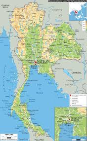 South Asia Physical Map Physical Map Of Thailand Ezilon Maps
