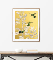 three humming birds botanical art emerald green gold geometric