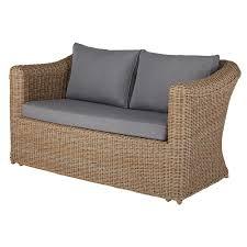 canap de jardin 2 places canapé de jardin 2 places en résine tressée et coussins gris clair