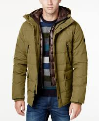 michael kors michael men s hooded puffer coat with attached bib in