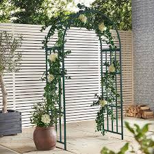 amazon com vonhaus dark green metal garden arbor trellis arch