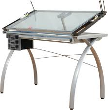 Drafting Table Glass Futura Drafting Table Silver Base Tiltable Blue Glass Top 3
