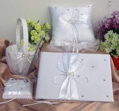 guest book and pen set vory wedding accessories guest book pen ring cushion basket garter
