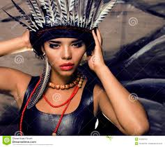 Pretty Makeup For Halloween by Young Pretty Woman With Make Up Like Red Indian Stock Photo