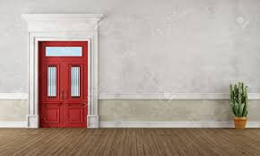 red front door retro vintage entrance with red front door and stone portal