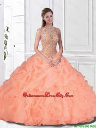 coral pink quinceanera dresses beaded and ruffles quinceanera gowns with bateau