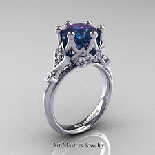 Solitaire Wedding Rings by Modern Antique 14k White Gold 3 0 Carat Alexandrite Diamond