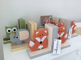 fox bookends orange and gray woodland nursery woodland kids
