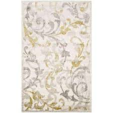 Yellow And White Outdoor Rug Floral 8 X 10 Outdoor Rugs Rugs The Home Depot