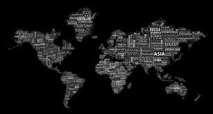1 world text map wall mural white on black world text map mural white on black