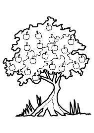 apple tree coloring page for kids printable free and apple tree