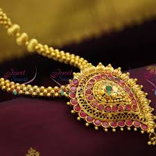 gold beaded necklace india images Nl2875 beaded jewellery temple kempu south indian traditional gold JPG