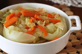 braised cabbage wedges with carrots