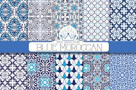 Morrocan Design Blue Moroccan Digital Paper Patterns Creative Market
