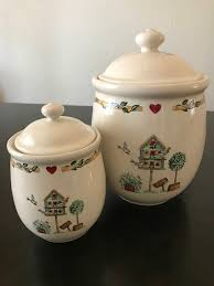 thomson pottery china birdhouse kitchen canisters set of two
