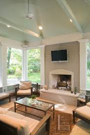 Hearth And Patio Nashville Nashville Screen Porch With Mint Green Painted Ceiling Deck