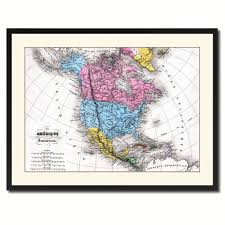Map Me Home North America Canada Mexico Vintage Antique Map Wall Art Bedroom