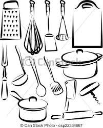 dessin ustensile de cuisine ustensile ensemble illustration cuisine clip vectoriel