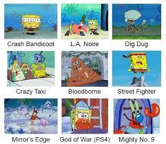Video Clip Memes - video games spongebob comparison charts know your meme