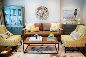 Yellow Living Room Chair Yellow And Brown Living Room Transitional Living Room Para