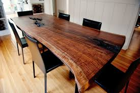 Live Edge Wood Slab  Pipe Dining Room Table - Wood dining room tables