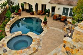 luxury backyard pool and patio with additional interior home