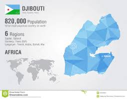 Djibouti Map Djibouti World Map With A Pixel Diamond Texture Stock Vector