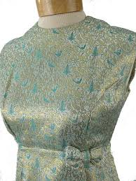 1960s Silver Green Gold Satin Brocade Cocktail Party Dress 60 U0027s