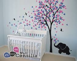 Tree Nursery Wall Decal Baby Nursery Wall Decals Tree Wall Decal Elephant Decal Wall