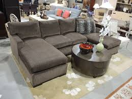 u shaped gray sofa with double chaise lounge and leopard accent
