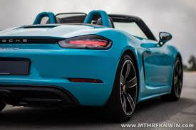 miami blue porsche 718 driven porsche u0027s new boxster s u2013 two fewer cylinders but can it