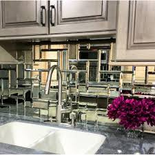 Mirror Backsplash Kitchen by The Photos Of This Tile Look Similar To Mercury Glass Or Old