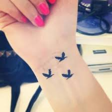 cute small flying birds tattoo on right wrist
