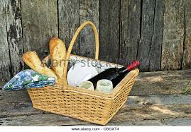 country wine basket basket bread wine cheese stock photos basket bread wine cheese