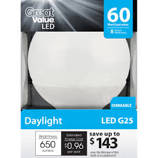 great value led 8w daylight globe light bulb walmart com